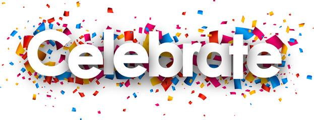 Graphic image of the word celebrate