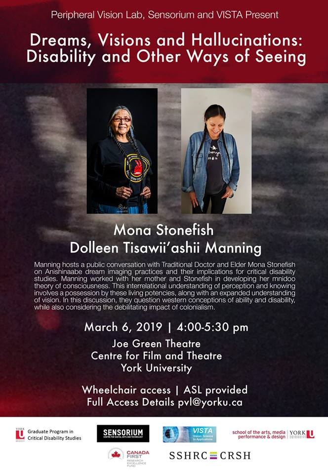 Poster for event with information and images of Mona Stonefish and Dolleen Tisawii'ashii Manning