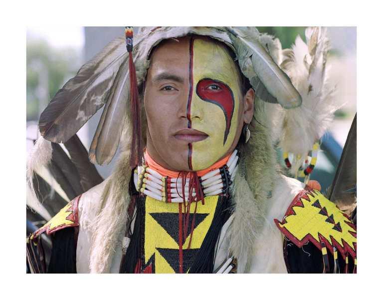 A portrait image of an Indigenous dancer