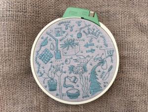Light blue embroidery on a brown textile with sketches of plants, birds, lights, arrows, and cooking supplies. A cream coloured embroidery hoop frames the work.
